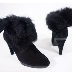 STUART WEITZMAN Faux Fur Cuff Bootie 7.5 Black
